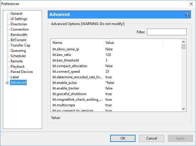 uTorrent Advanced Panel